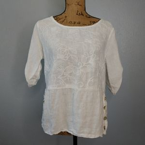 Lungo L'arno White Linen Floral Embroidery Top